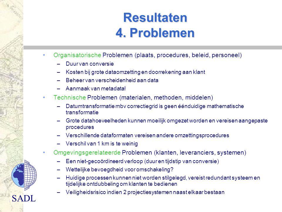 SADL Resultaten 4. Problemen Organisatorische Problemen (plaats, procedures, beleid, personeel) –Duur van conversie –Kosten bij grote dataomzetting en