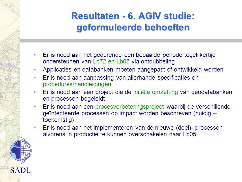 SADL Resultaten - 6. AGIV studie: geformuleerde behoeften Er is nood aan het gedurende een bepaalde periode tegelijkertijd ondersteunen van Lb72 en Lb
