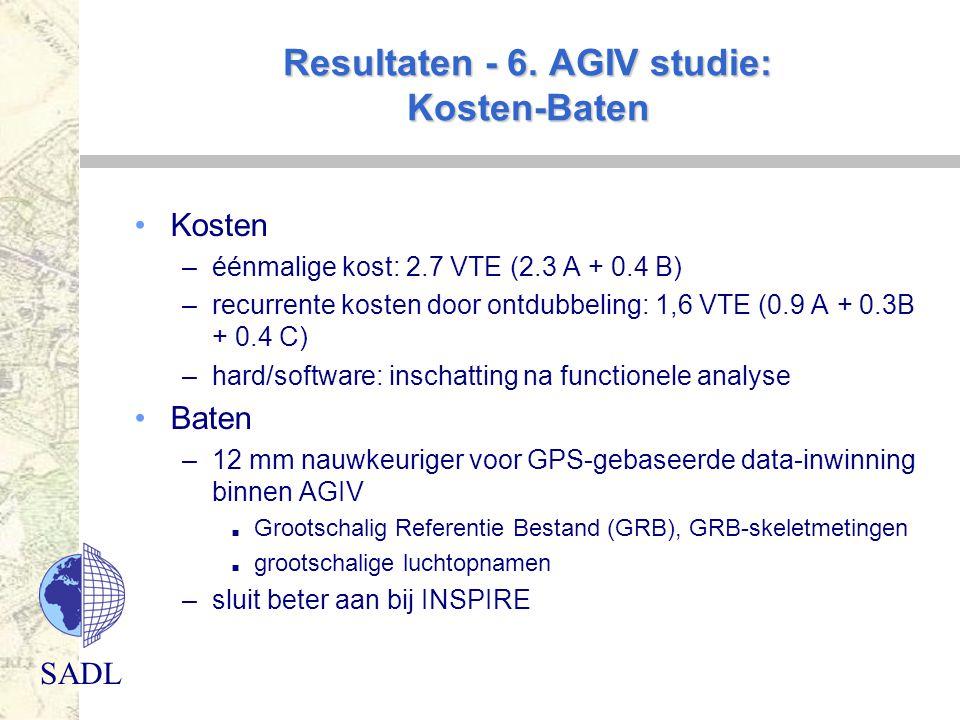 SADL Resultaten - 6. AGIV studie: Kosten-Baten Kosten –éénmalige kost: 2.7 VTE (2.3 A + 0.4 B) –recurrente kosten door ontdubbeling: 1,6 VTE (0.9 A +