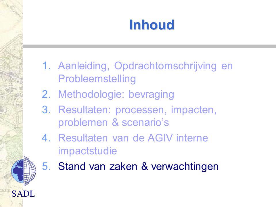 SADL Inhoud 1.Aanleiding, Opdrachtomschrijving en Probleemstelling 2.Methodologie: bevraging 3.Resultaten: processen, impacten, problemen & scenario's