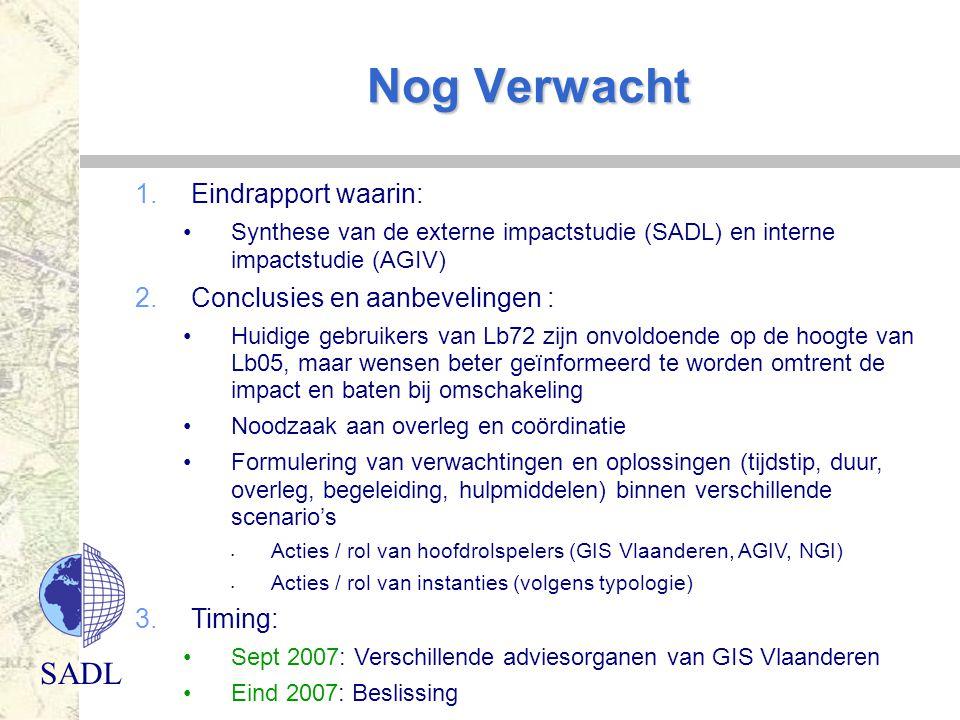 SADL Nog Verwacht 1.Eindrapport waarin: Synthese van de externe impactstudie (SADL) en interne impactstudie (AGIV) 2.Conclusies en aanbevelingen : Hui