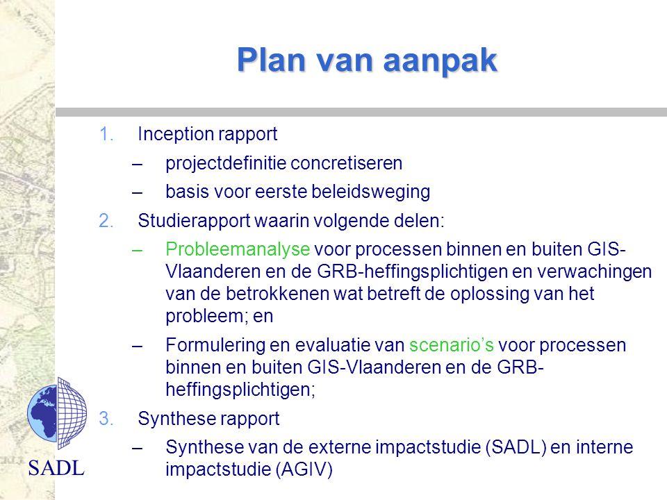 SADL Plan van aanpak 1.Inception rapport –projectdefinitie concretiseren –basis voor eerste beleidsweging 2.Studierapport waarin volgende delen: –Prob