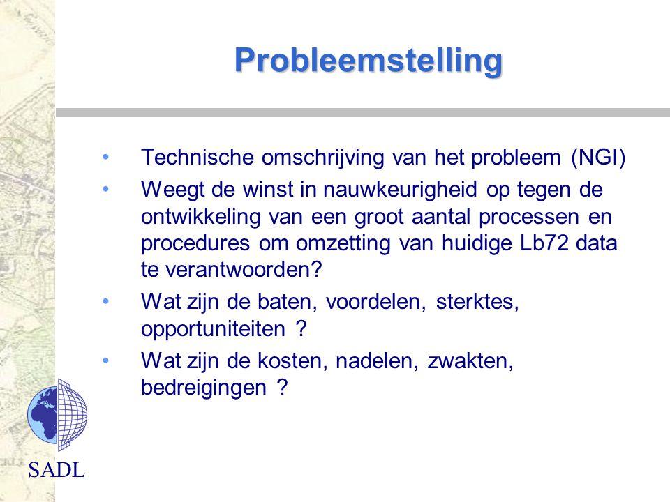 SADL Probleemstelling Technische omschrijving van het probleem (NGI) Weegt de winst in nauwkeurigheid op tegen de ontwikkeling van een groot aantal pr