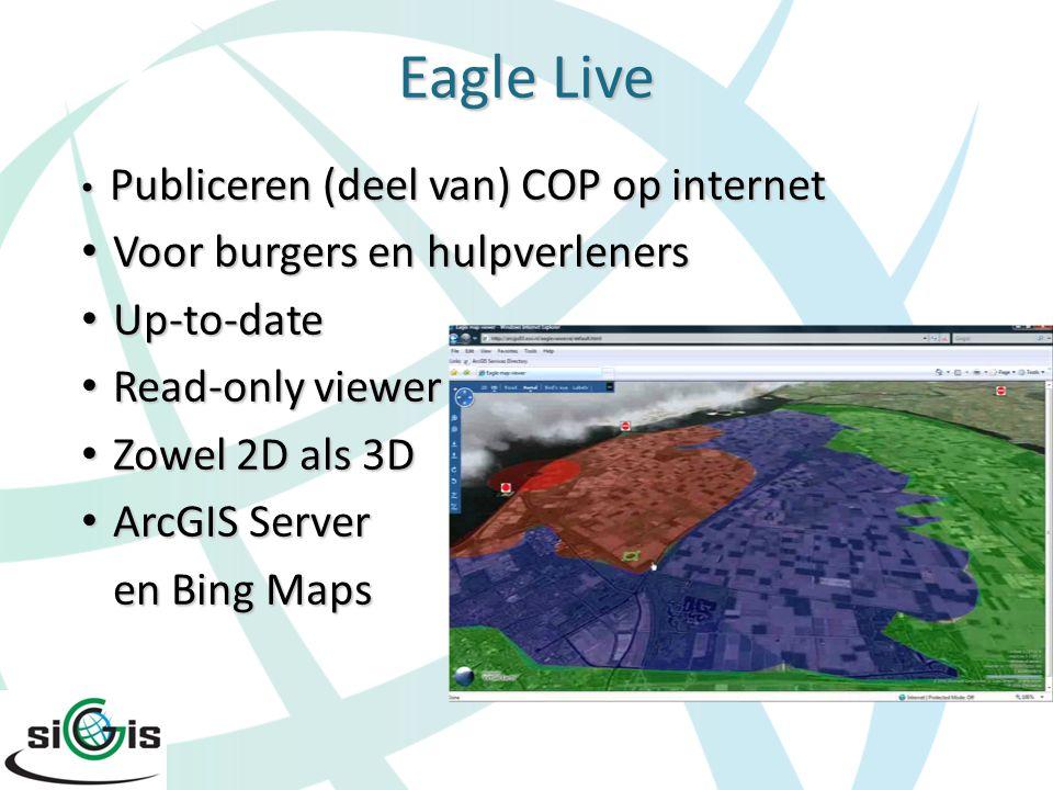 Eagle Live Publiceren (deel van) COP op internet Publiceren (deel van) COP op internet Voor burgers en hulpverleners Voor burgers en hulpverleners Up-