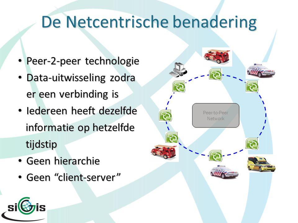 De Netcentrische benadering Peer-2-peer technologie Peer-2-peer technologie Data-uitwisseling zodra Data-uitwisseling zodra er een verbinding is er ee