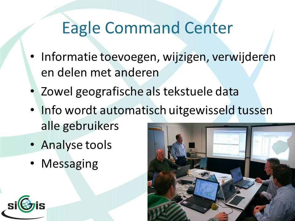 Eagle Command Center Informatie toevoegen, wijzigen, verwijderen en delen met anderen Zowel geografische als tekstuele data Info wordt automatisch uit