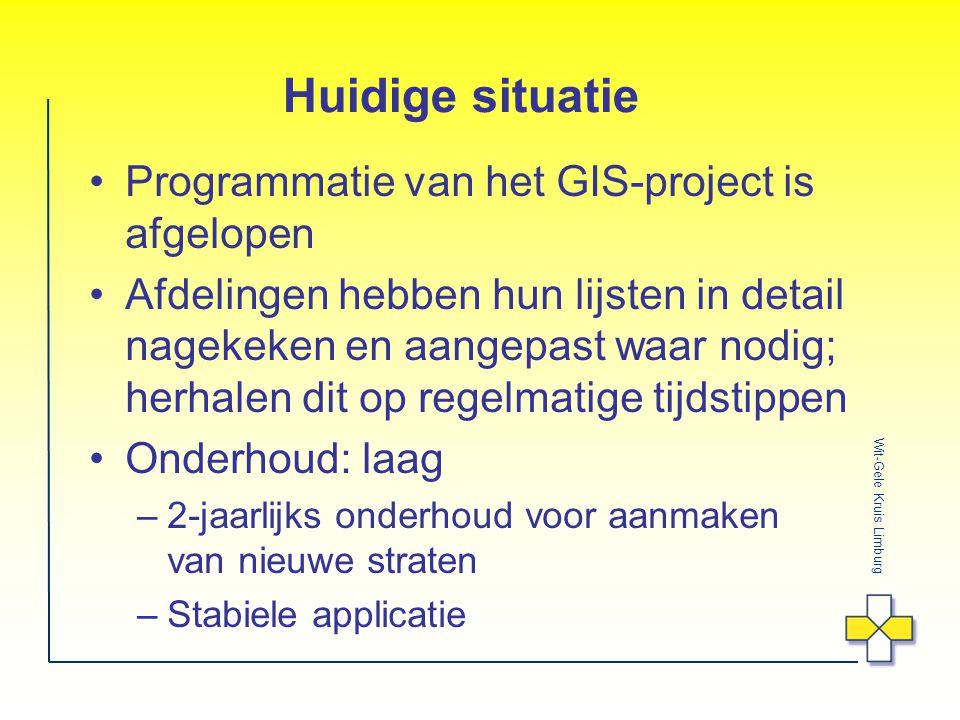 Wit-Gele Kruis Limburg Huidige situatie Programmatie van het GIS-project is afgelopen Afdelingen hebben hun lijsten in detail nagekeken en aangepast waar nodig; herhalen dit op regelmatige tijdstippen Onderhoud: laag –2-jaarlijks onderhoud voor aanmaken van nieuwe straten –Stabiele applicatie