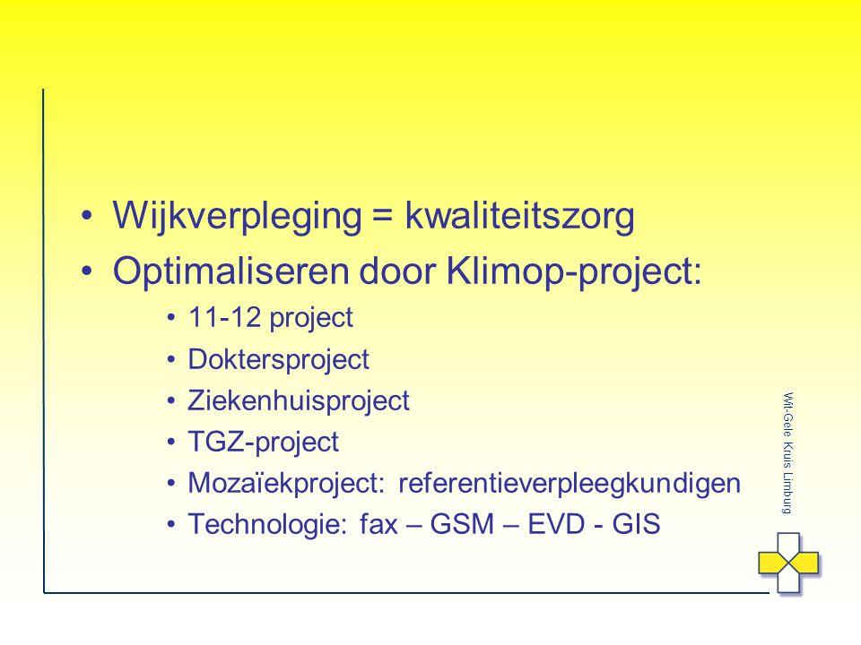 Wit-Gele Kruis Limburg Wijkverpleging = kwaliteitszorg Optimaliseren door Klimop-project: 11-12 project Doktersproject Ziekenhuisproject TGZ-project Mozaïekproject: referentieverpleegkundigen Technologie: fax – GSM – EVD - GIS
