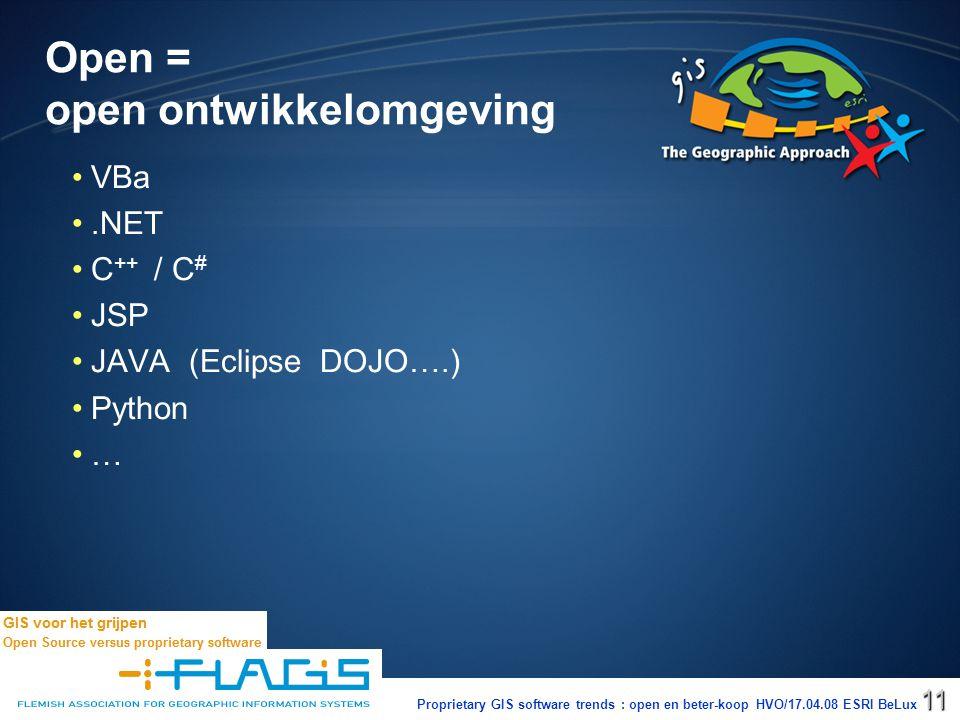 Proprietary GIS software trends : open en beter-koop HVO/17.04.08 ESRI BeLux11 Open = open ontwikkelomgeving VBa.NET C ++ / C # JSP JAVA (Eclipse DOJO