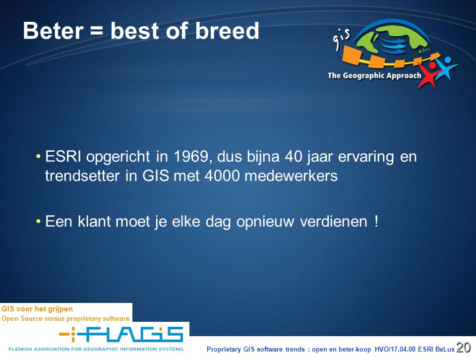 Proprietary GIS software trends : open en beter-koop HVO/17.04.08 ESRI BeLux20 Beter = best of breed ESRI opgericht in 1969, dus bijna 40 jaar ervaring en trendsetter in GIS met 4000 medewerkers Een klant moet je elke dag opnieuw verdienen !