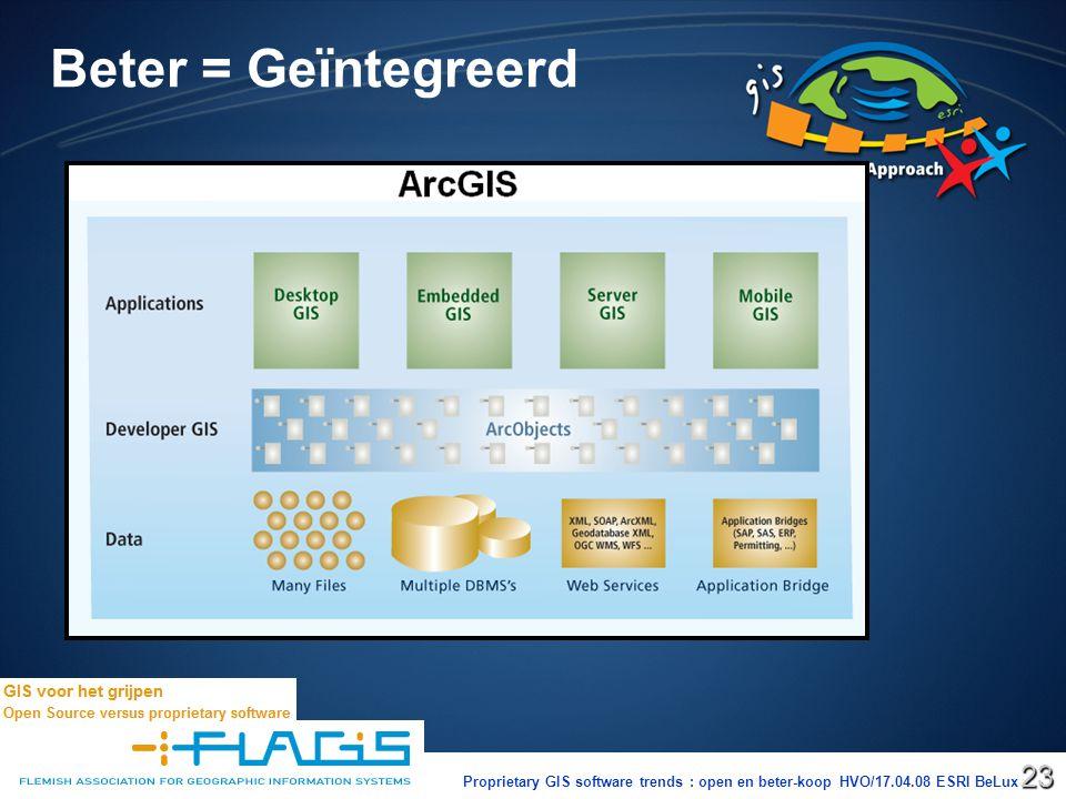 Proprietary GIS software trends : open en beter-koop HVO/17.04.08 ESRI BeLux23 Beter = Geïntegreerd