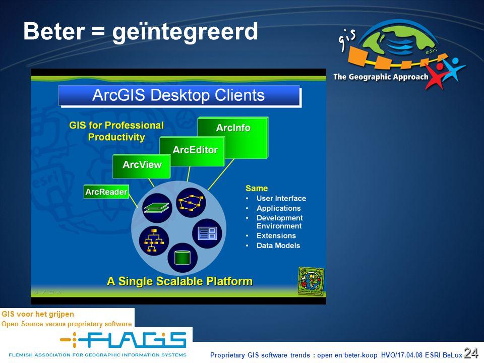 Proprietary GIS software trends : open en beter-koop HVO/17.04.08 ESRI BeLux24 Beter = geïntegreerd