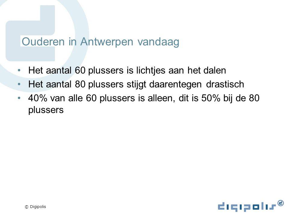 © Digipolis Ouderen in Antwerpen vandaag Het aantal 60 plussers is lichtjes aan het dalen Het aantal 80 plussers stijgt daarentegen drastisch 40% van alle 60 plussers is alleen, dit is 50% bij de 80 plussers