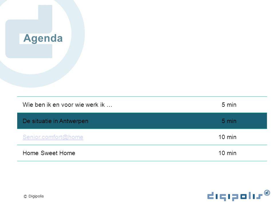 © Digipolis Agenda Wie ben ik en voor wie werk ik …5 min De situatie in Antwerpen5 min Senior.comfort@home10 min Home Sweet Home10 min
