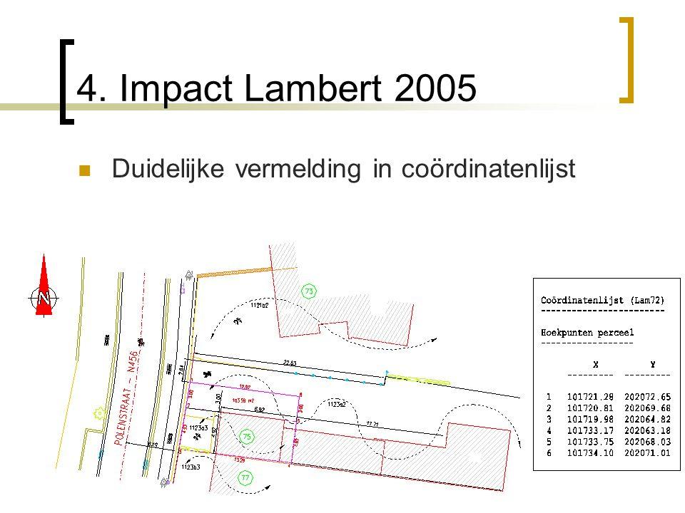 4. Impact Lambert 2005 Duidelijke vermelding in coördinatenlijst