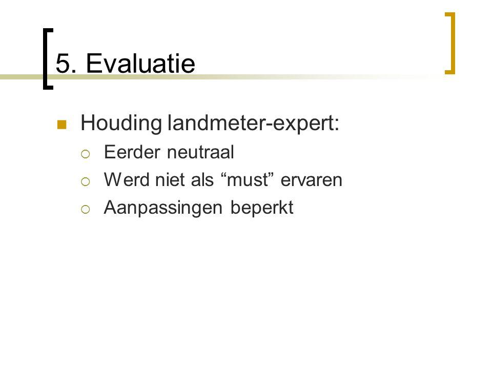 """Houding landmeter-expert:  Eerder neutraal  Werd niet als """"must"""" ervaren  Aanpassingen beperkt"""