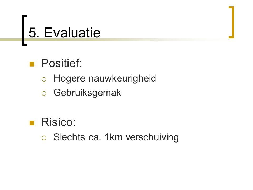 5. Evaluatie Positief:  Hogere nauwkeurigheid  Gebruiksgemak Risico:  Slechts ca. 1km verschuiving