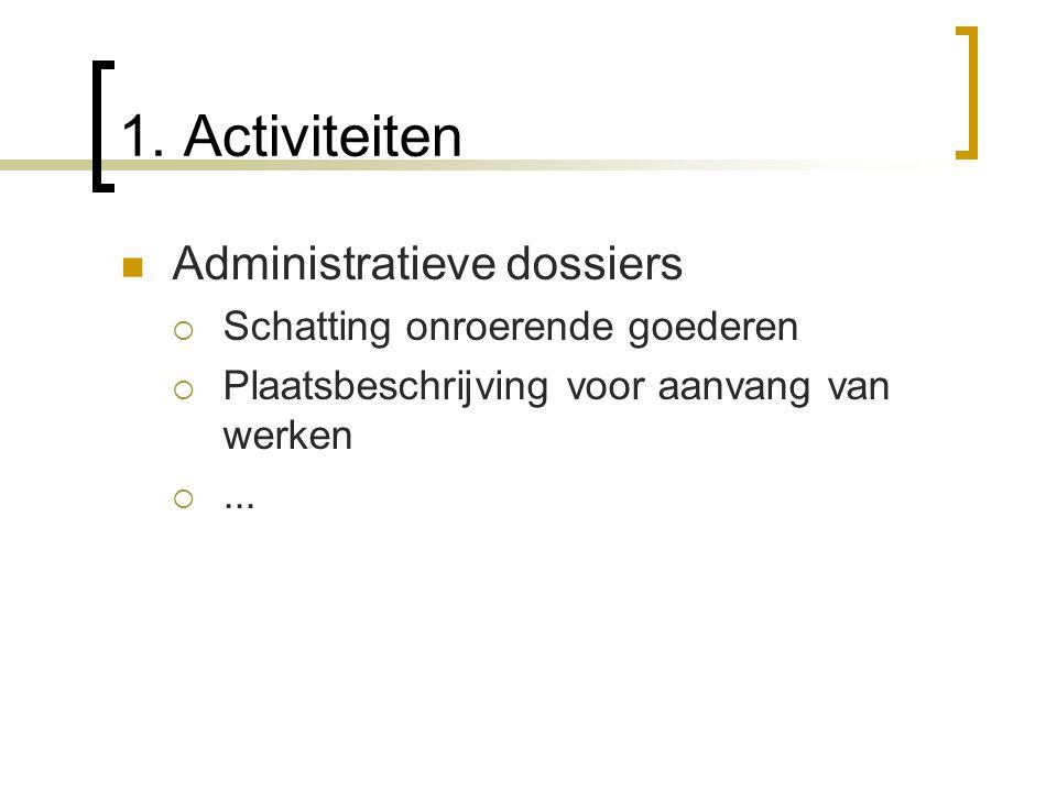 1. Activiteiten Administratieve dossiers SSchatting onroerende goederen PPlaatsbeschrijving voor aanvang van werken ....