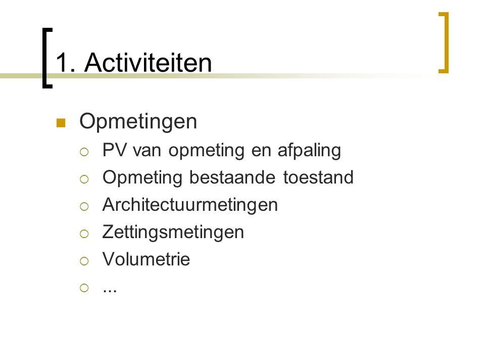 Opmetingen PPV van opmeting en afpaling OOpmeting bestaande toestand AArchitectuurmetingen ZZettingsmetingen VVolumetrie ....