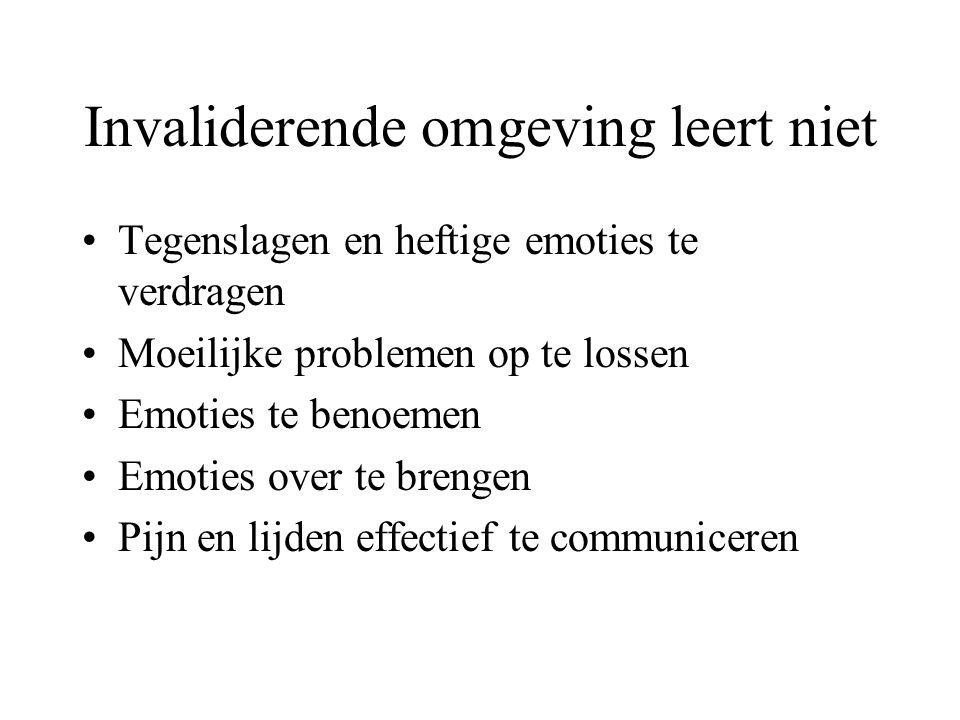 Invaliderende omgeving leert niet Tegenslagen en heftige emoties te verdragen Moeilijke problemen op te lossen Emoties te benoemen Emoties over te brengen Pijn en lijden effectief te communiceren