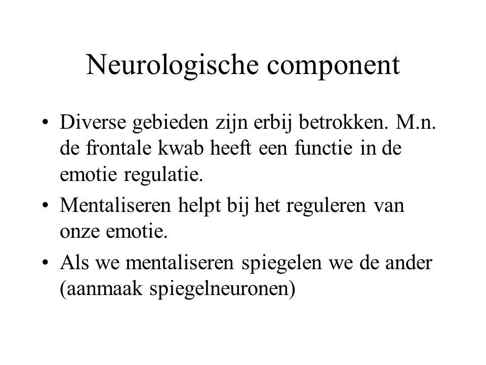 Neurologische component Diverse gebieden zijn erbij betrokken.