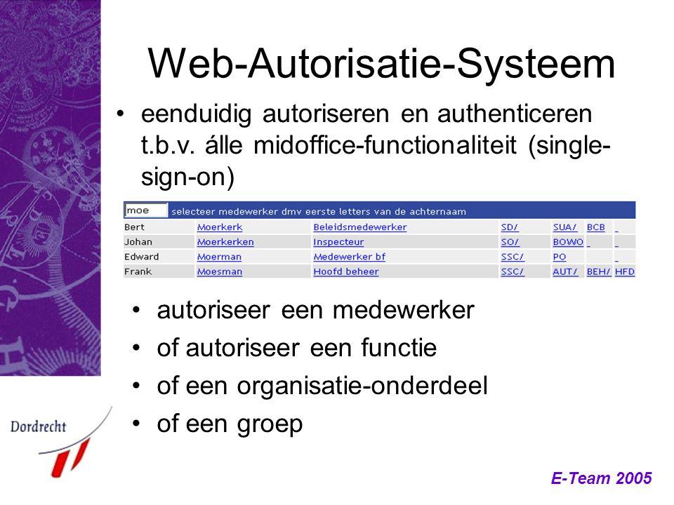 Web-Autorisatie-Systeem eenduidig autoriseren en authenticeren t.b.v. álle midoffice-functionaliteit (single- sign-on) autoriseer een medewerker of au