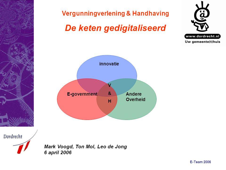 E-Team 2006 Vergunningverlening & Handhaving De keten gedigitaliseerd E-government innovatie Andere Overheid V&HV&H Mark Voogd, Ton Mol, Leo de Jong 6 april 2006