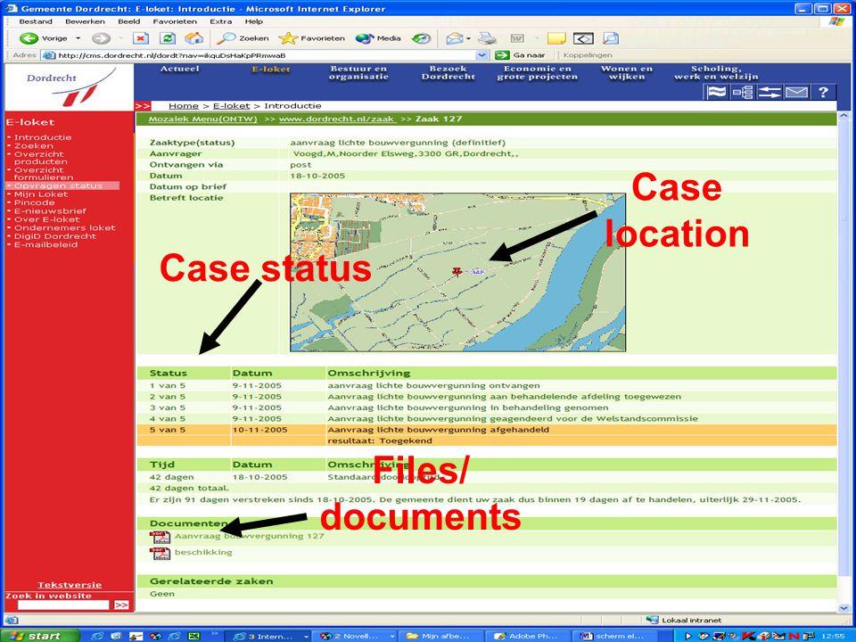 E-Team 2006 Vergunningverlening en handhaving; de keten gedigitaliseerd Scherm voor de aanvrager over zijn zaak Case location Files/ documents Case status