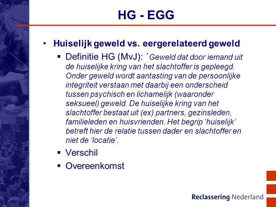 12 HG - EGG Huiselijk geweld vs. eergerelateerd geweld  Definitie HG (MvJ): ´ Geweld dat door iemand uit de huiselijke kring van het slachtoffer is g