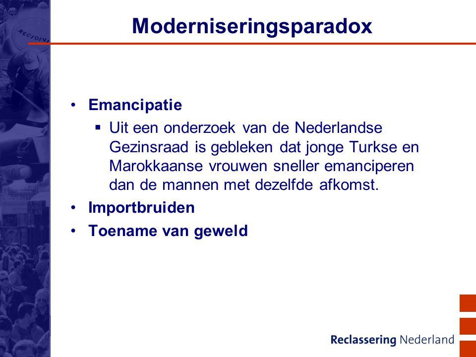 16 Moderniseringsparadox Emancipatie  Uit een onderzoek van de Nederlandse Gezinsraad is gebleken dat jonge Turkse en Marokkaanse vrouwen sneller ema