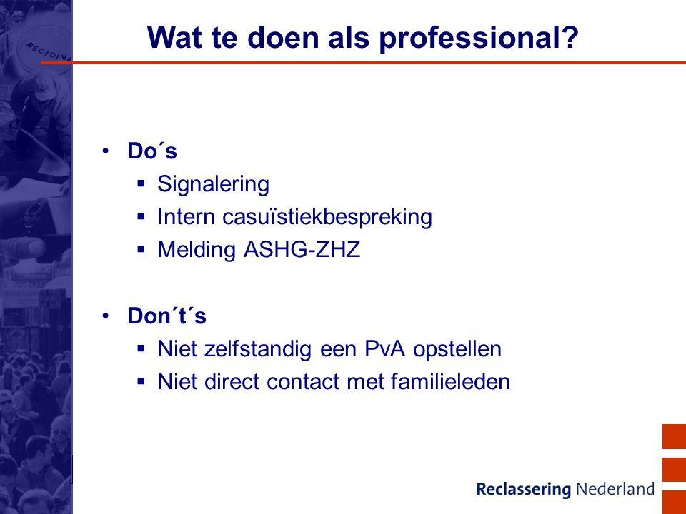 19 Wat te doen als professional? Do´s  Signalering  Intern casuïstiekbespreking  Melding ASHG-ZHZ Don´t´s  Niet zelfstandig een PvA opstellen  Ni