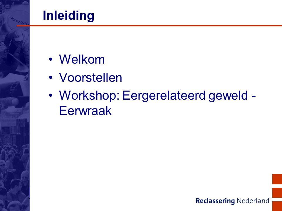 2 Inleiding Welkom Voorstellen Workshop: Eergerelateerd geweld - Eerwraak