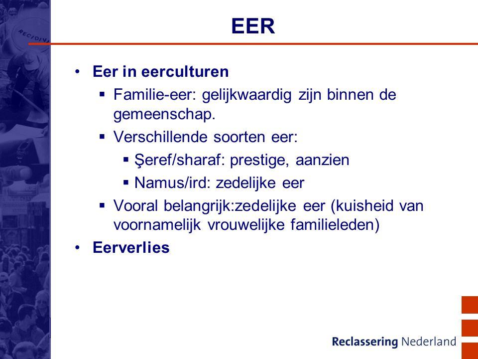 5 EER Eer in eerculturen  Familie-eer: gelijkwaardig zijn binnen de gemeenschap.  Verschillende soorten eer:  Şeref/sharaf: prestige, aanzien  Nam