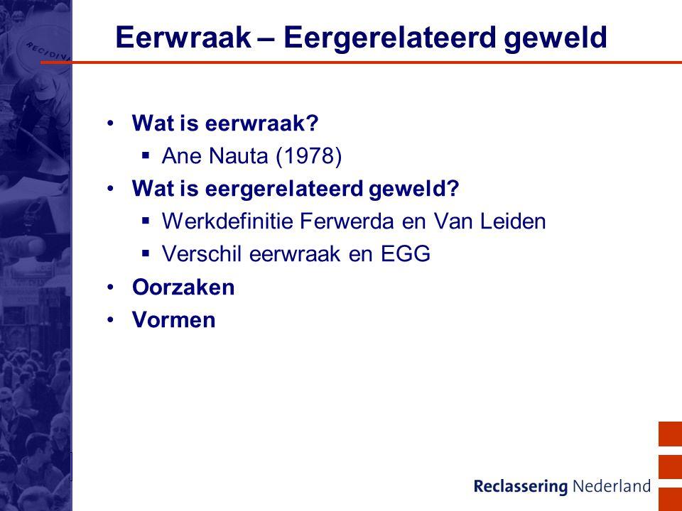 6 Eerwraak – Eergerelateerd geweld Wat is eerwraak?  Ane Nauta (1978) Wat is eergerelateerd geweld?  Werkdefinitie Ferwerda en Van Leiden  Verschil