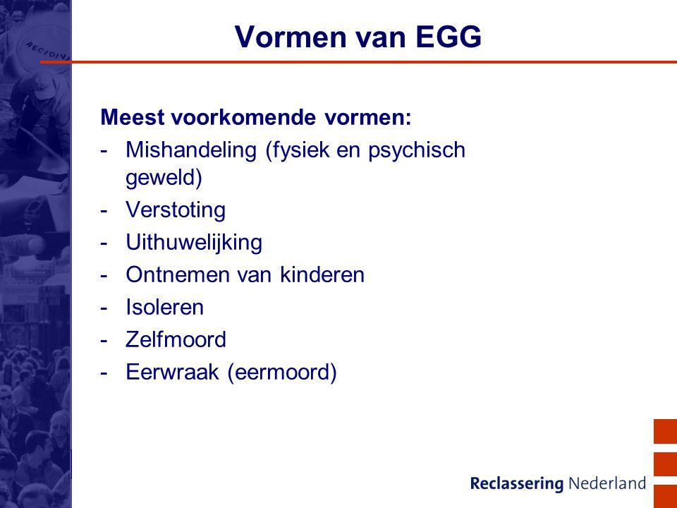 9 Vormen van EGG Meest voorkomende vormen: -Mishandeling (fysiek en psychisch geweld) -Verstoting -Uithuwelijking -Ontnemen van kinderen -Isoleren -Ze