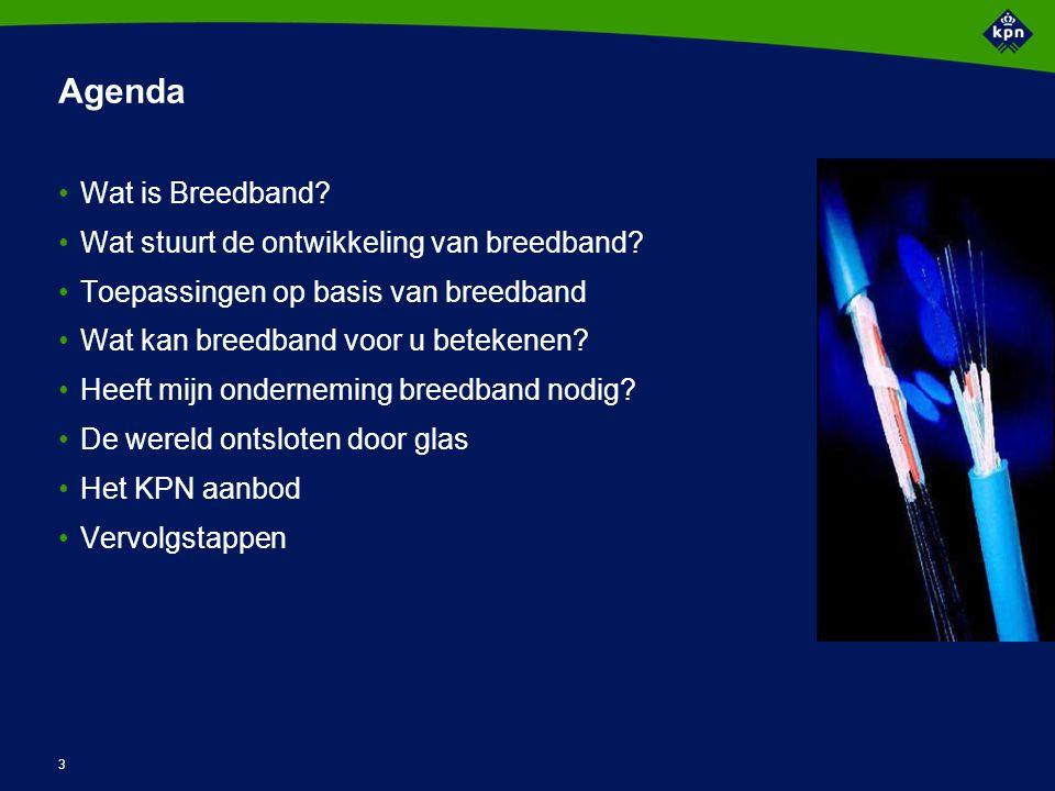 3 Agenda Wat is Breedband. Wat stuurt de ontwikkeling van breedband.