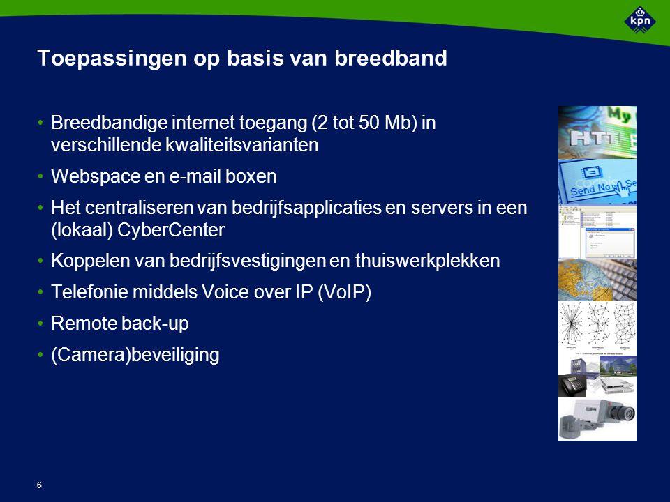 6 Toepassingen op basis van breedband Breedbandige internet toegang (2 tot 50 Mb) in verschillende kwaliteitsvarianten Webspace en e-mail boxen Het centraliseren van bedrijfsapplicaties en servers in een (lokaal) CyberCenter Koppelen van bedrijfsvestigingen en thuiswerkplekken Telefonie middels Voice over IP (VoIP) Remote back-up (Camera)beveiliging
