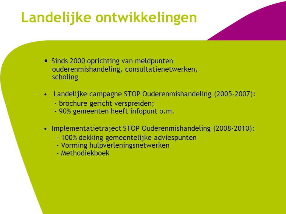 Landelijke ontwikkelingen Sinds 2000 oprichting van meldpunten ouderenmishandeling, consultatienetwerken, scholing Landelijke campagne STOP Ouderenmis