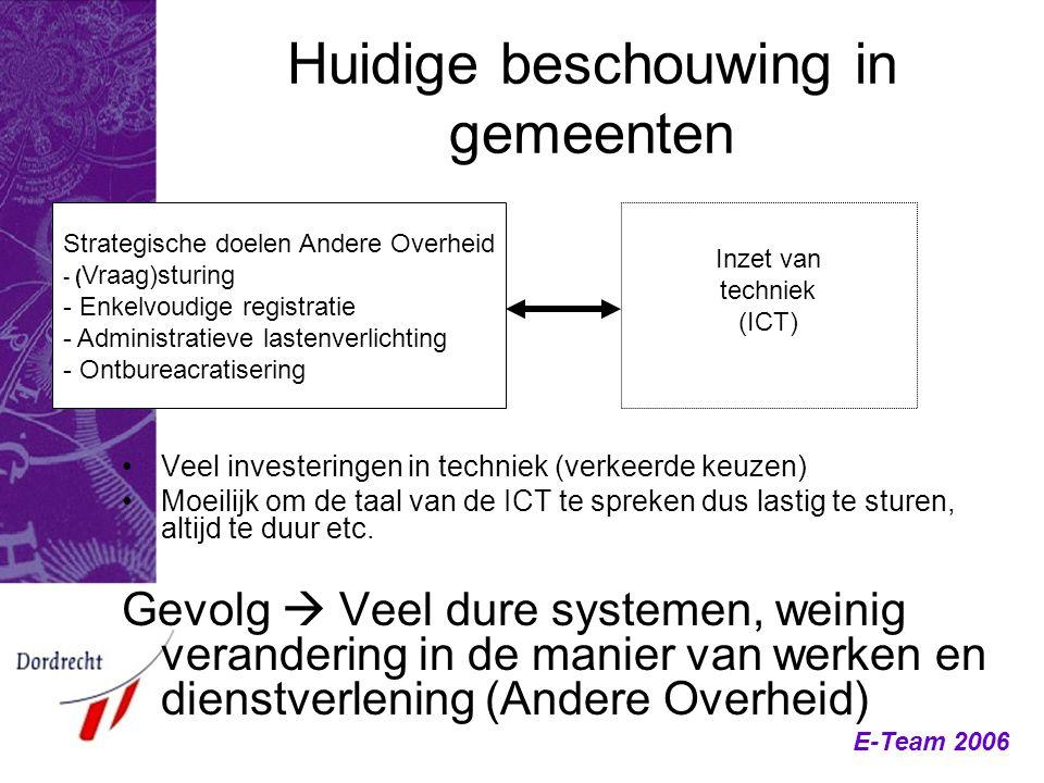 E-Team 2006 Huidige beschouwing in gemeenten Veel investeringen in techniek (verkeerde keuzen) Moeilijk om de taal van de ICT te spreken dus lastig te
