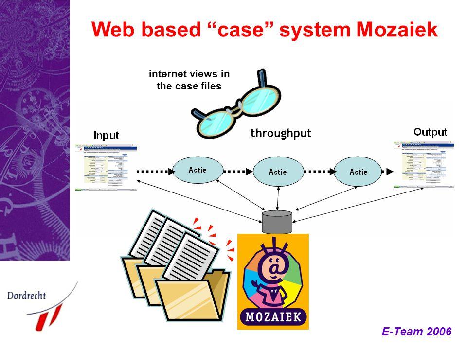 "E-Team 2006 Web based ""case"" system Mozaiek internet views in the case files throughput"