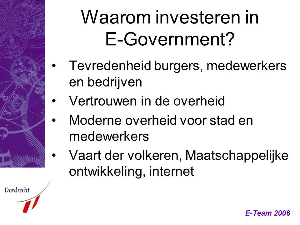 E-Team 2006 Waarom investeren in E-Government? Tevredenheid burgers, medewerkers en bedrijven Vertrouwen in de overheid Moderne overheid voor stad en