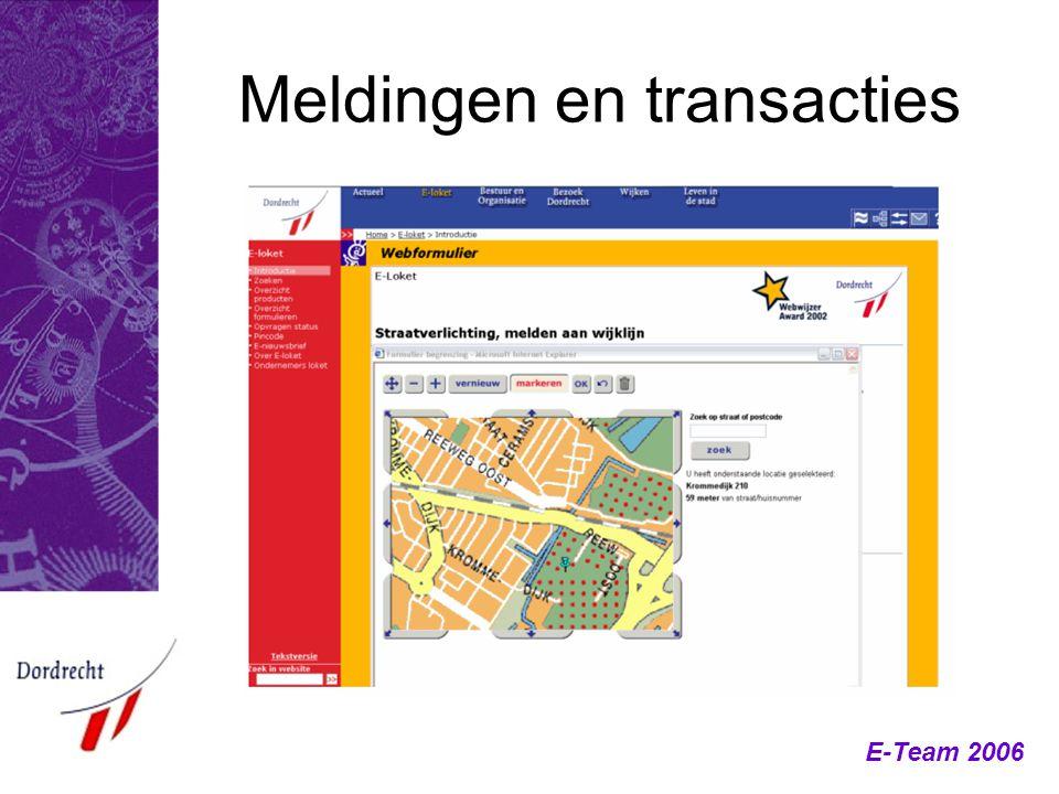 E-Team 2006 Meldingen en transacties