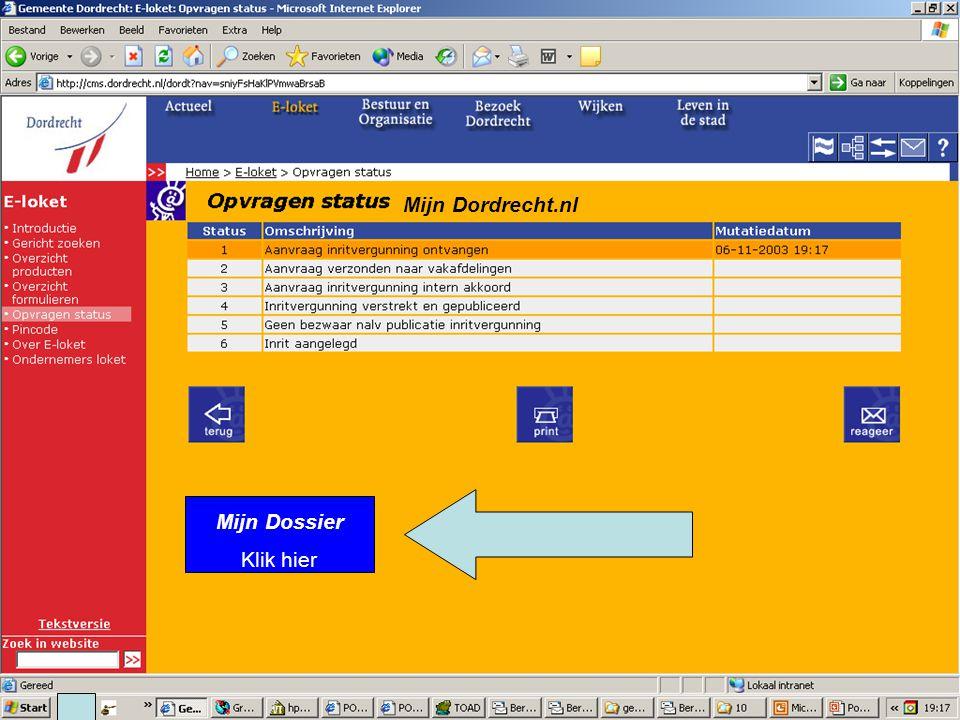 E-Team 2006 Mijn Dordrecht.nl Mijn Dossier Klik hier