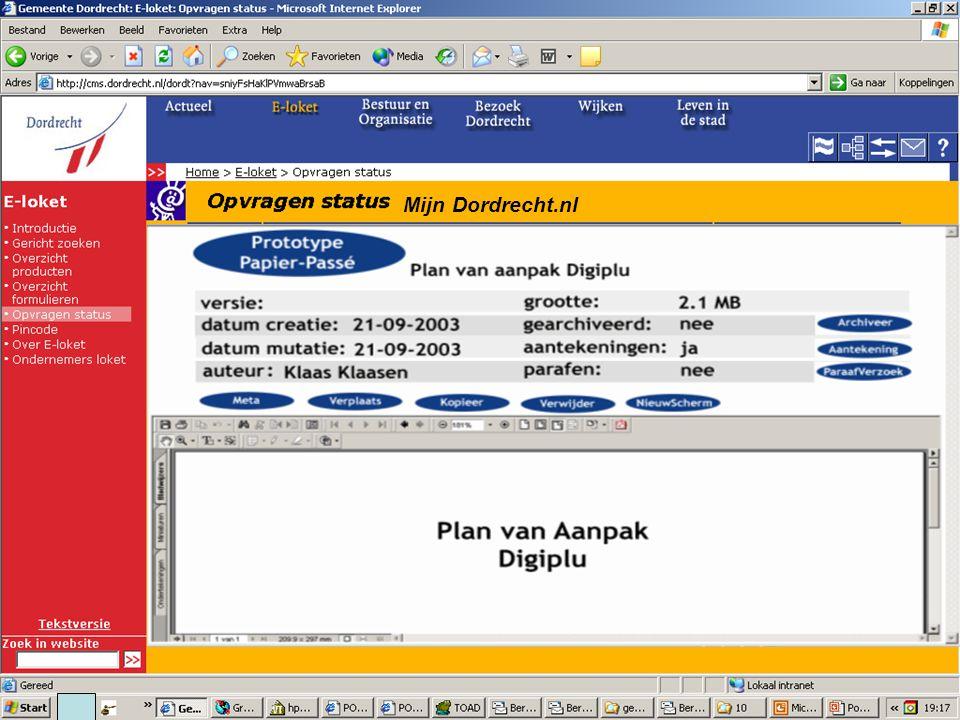 E-Team 2006 Mijn Dordrecht.nl Mijn Dossiers Klik hier