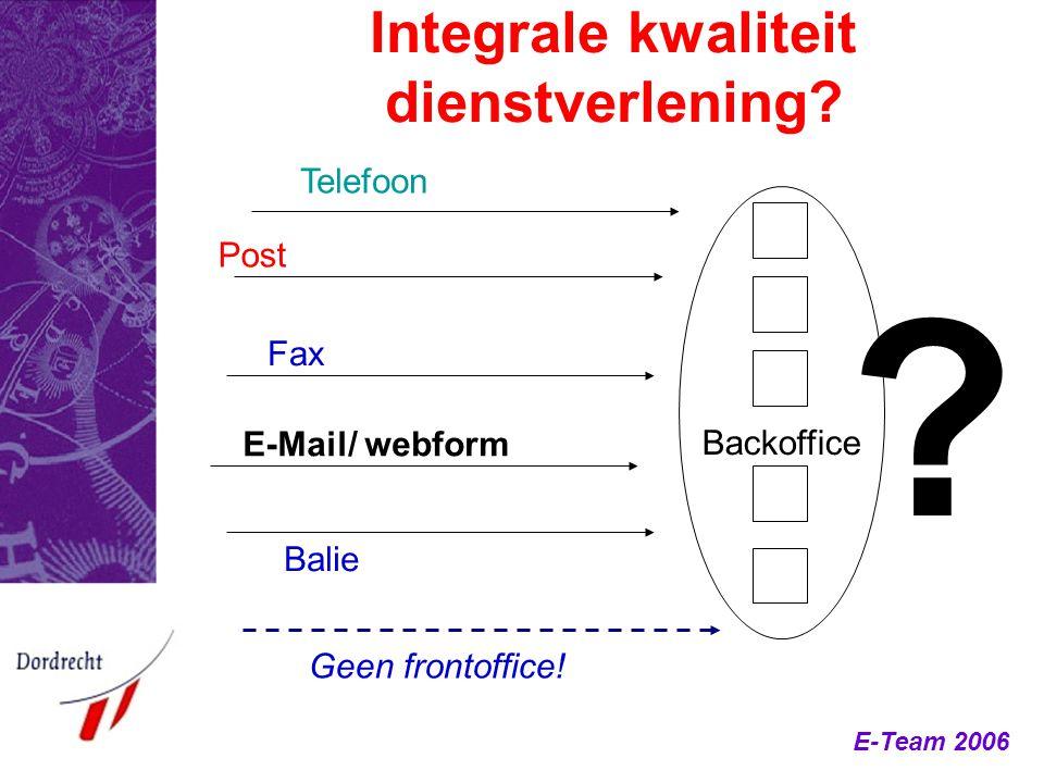 E-Team 2006 Integrale kwaliteit dienstverlening? Backoffice Post Fax E-Mail/ webform Balie Telefoon Geen frontoffice! ?