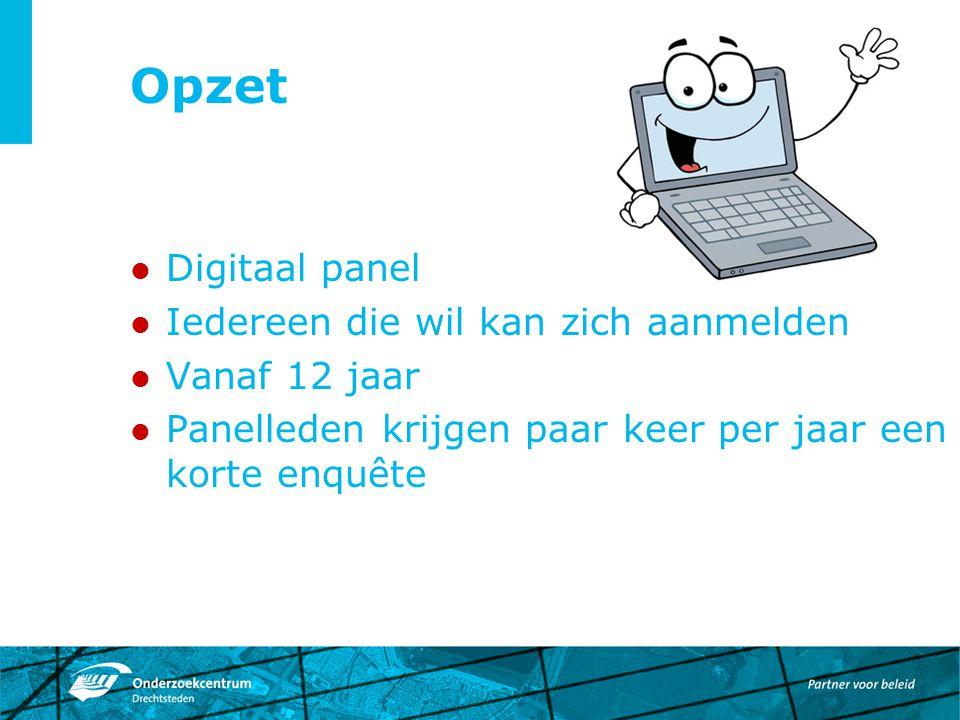 Opzet Digitaal panel Iedereen die wil kan zich aanmelden Vanaf 12 jaar Panelleden krijgen paar keer per jaar een korte enquête