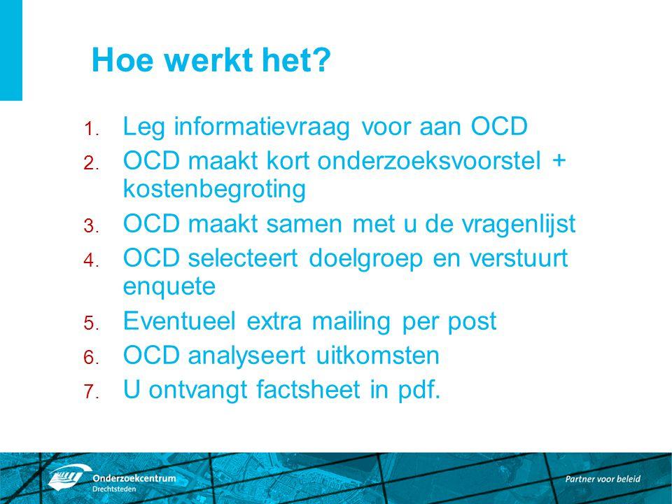 Hoe werkt het. 1. Leg informatievraag voor aan OCD 2.