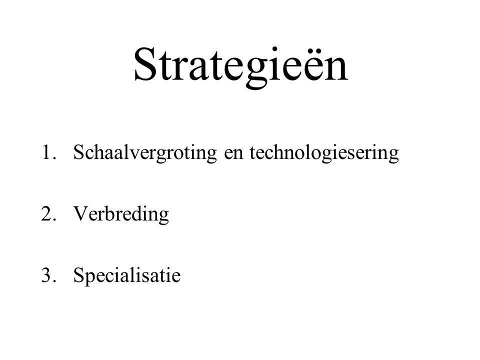 Strategieën 1.Schaalvergroting en technologiesering 2.Verbreding 3.Specialisatie