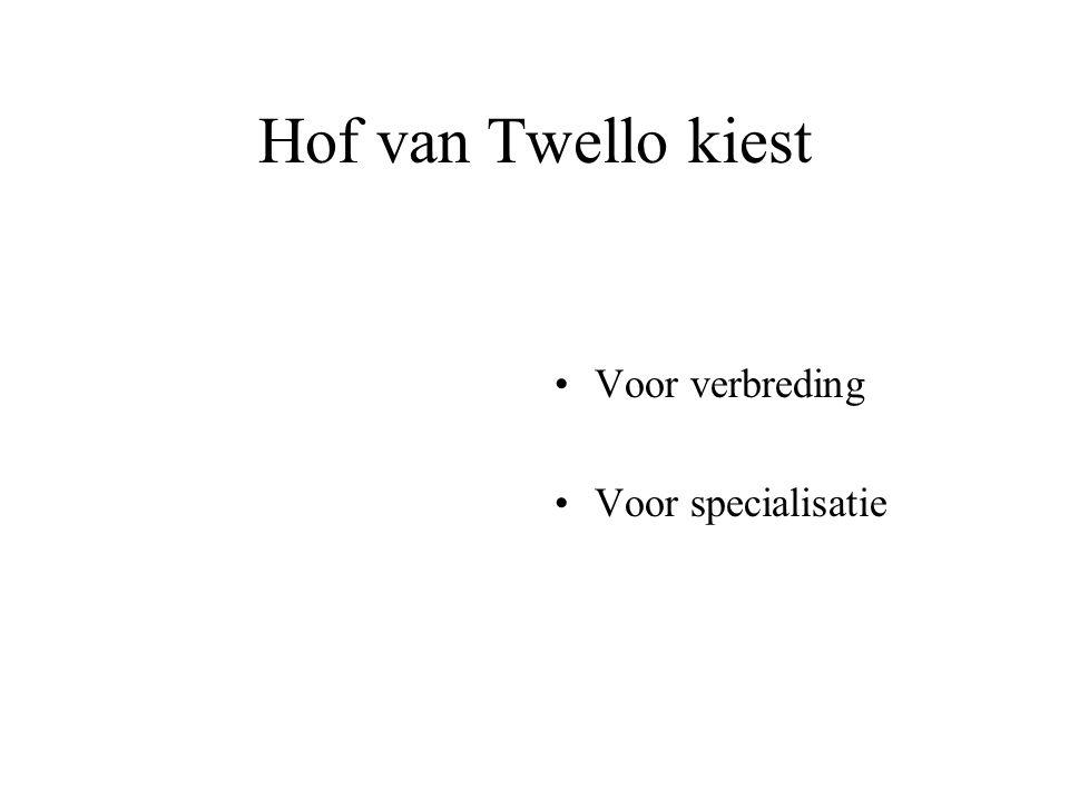 Hof van Twello kiest Voor verbreding Voor specialisatie