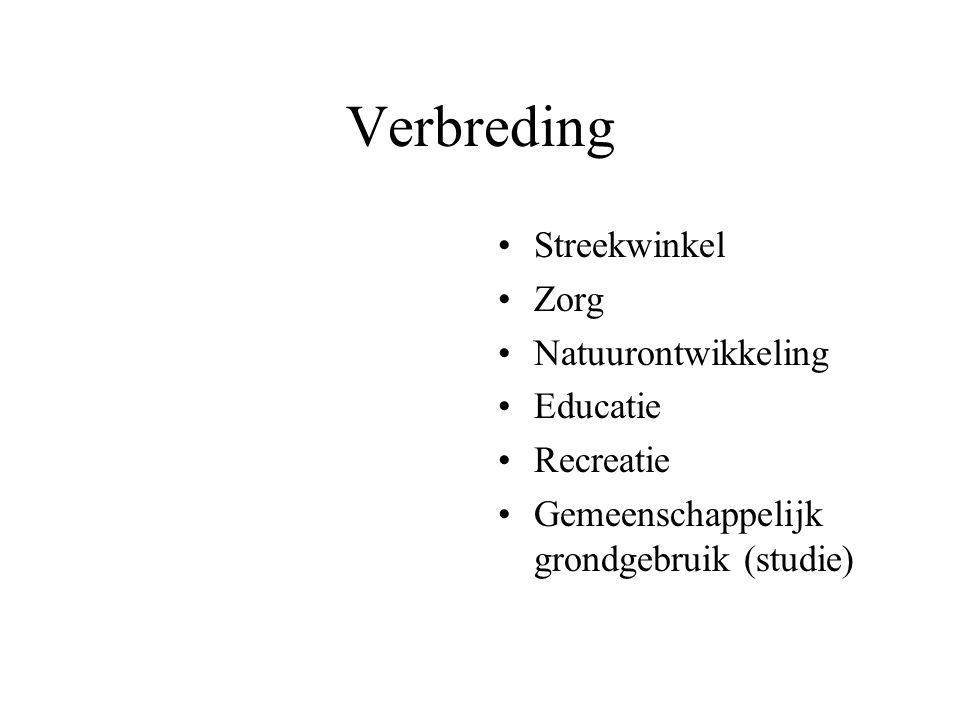 Verbreding Streekwinkel Zorg Natuurontwikkeling Educatie Recreatie Gemeenschappelijk grondgebruik (studie)